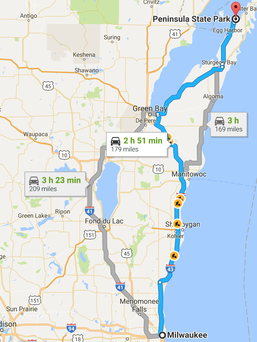 MKE to Peninsula State Park