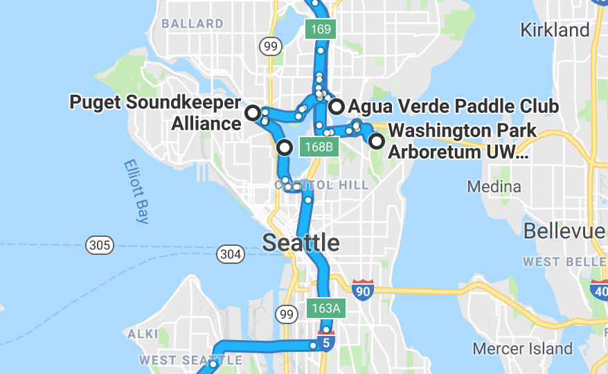 Five Nature Activities Seattle WA Map